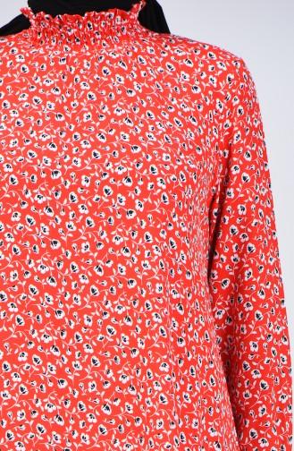 Desenli Gipeli Tunik 8184-01 Kırmızı