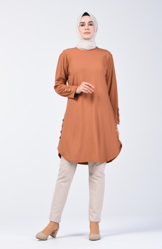 Camisole Button Detailed Tunic 2239-05 Brick Red 2239-05