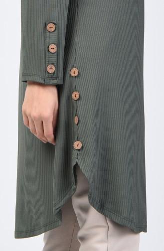 Corded Button Detailed Tunic 2239-08 Khaki Green 2239-08