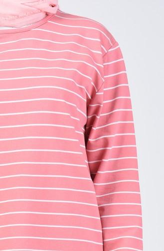 Plus Size Two-thread Striped Sports Tunic 2240-01 Powder 2240-01