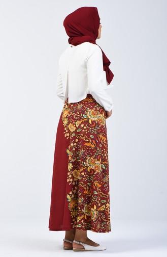 Patterned Skirt 1055-04 Claret Red 1055-04