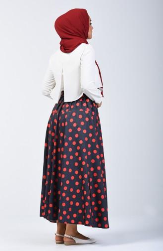 Polka Dot Skirt 1065-01 Navy Blue 1065-01
