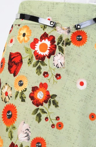 Elastic Waist Belted Skirt 1074-02 Pistachio Green 1074-02