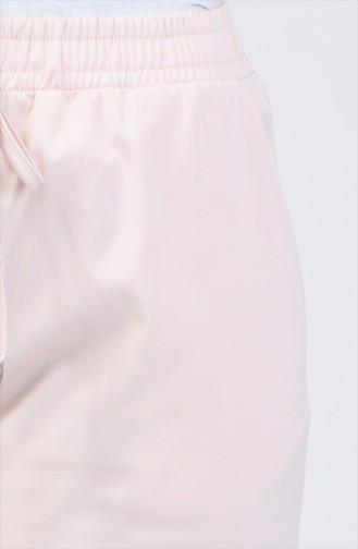 Beli Lastikli Düz Paça Pantolon 1446PNT-01 Pudra