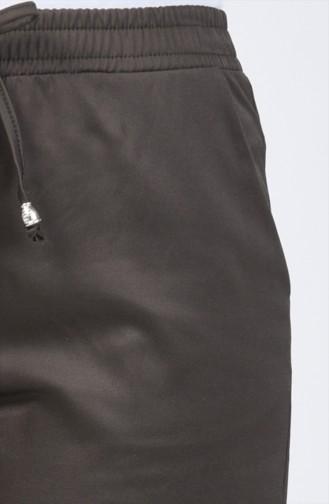 Beli Lastikli Düz Paça Pantolon 1446PNT-02 Koyu Yeşil