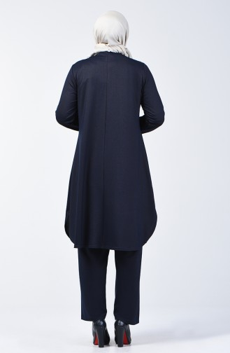 Büyük Beden Taş Baskılı Tunik Pantolon İkili Takım 2681-01 Lacivert 2681-01