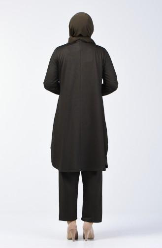 Büyük Beden Taş Baskılı Tunik Pantolon İkili Takım 2681-02 Haki