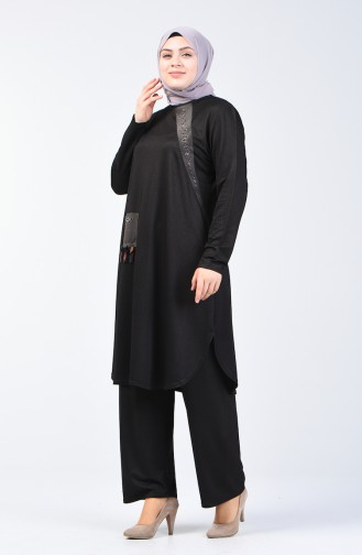 Plus Size Stone Printed Tunic Trousers Double Set 2681-04 Smoked 2681-04