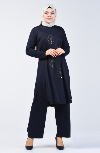 Plus Size Pearled Tunic Trousers Double Set 2685-01 Dark Navy Blue 2685-01
