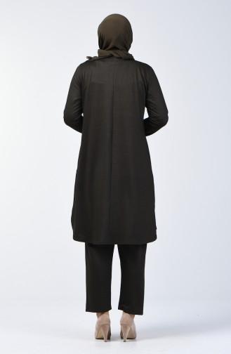 Büyük Beden İncili Tunik Pantolon İkili Takım 2685-05 Haki 2685-05