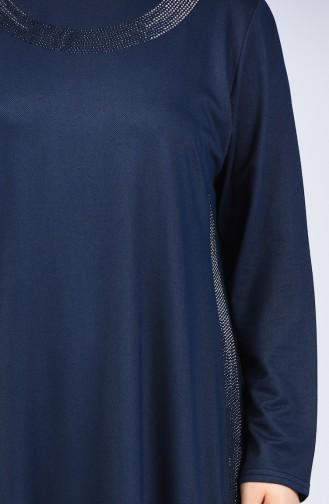 Büyük Beden Taş Baskılı Tunik Pantolon İkili Takım 2687-01 Lacivert