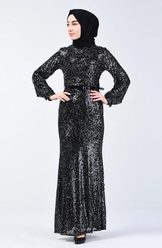 Payetli Abiye Elbise 81765-01 Siyah Gümüş 81765-01