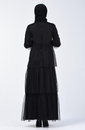 Stone Tulle Evening Dress 6058-02 Black 6058-02
