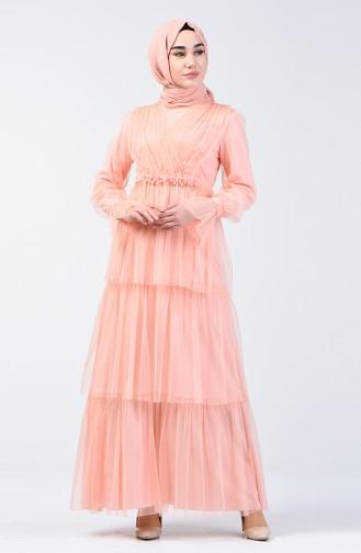 Taşlı Tül Abiye Elbise 6058-03 Somon