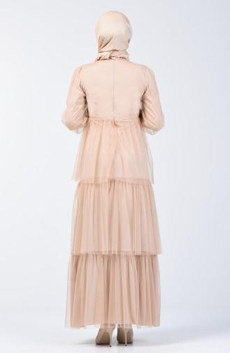 Taşlı Tül Abiye Elbise 6058-04 Bej 6058-04