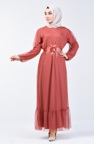Belted Evening Dress 2002-01 Brick Red 2002-01