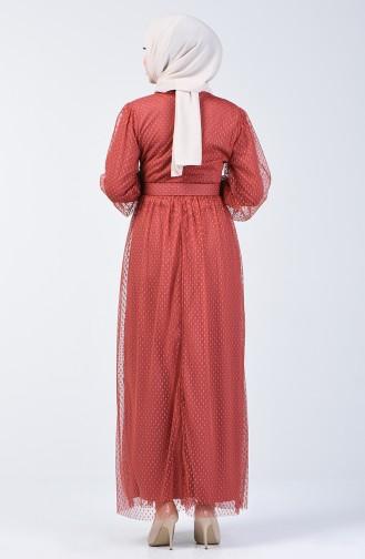 Kemerli Tül Abiye Elbise 2004-01 Kiremit 2004-01