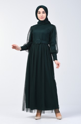 Belted Tulle Evening Dress 2004-04 Emerald Green 2004-04