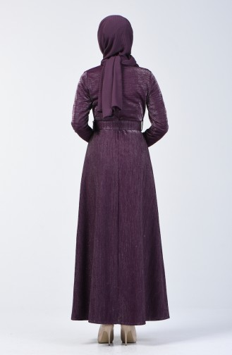 Belted Silvery Evening Dress 2006-02 Purple 2006-02