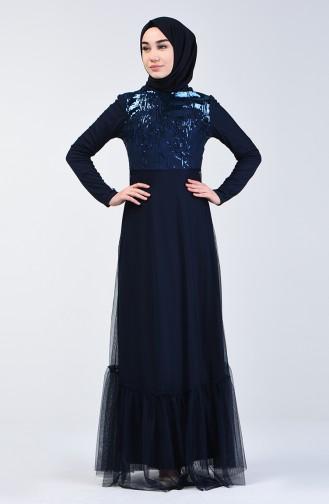 Robe de Soirée à Paillettes 5242-01 Bleu Marine 5242-01