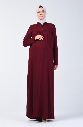 Düğmeli Elbise 8188-01 Bordo