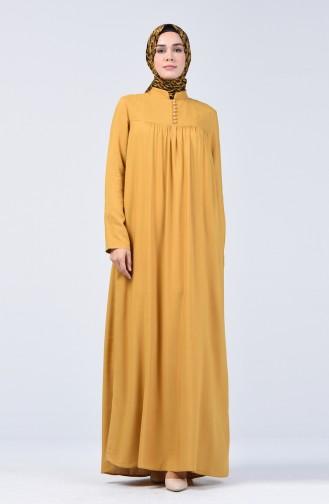 Düğmeli Elbise 8188-04 Hardal