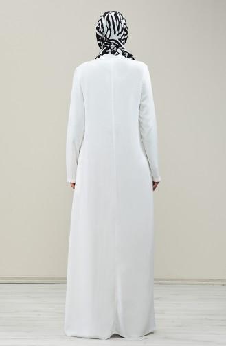 Ecru İslamitische Jurk 8188-07