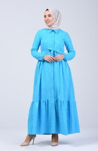 Geknöpftes Kleid mit Band 0014B-02 Blau 0014B-02