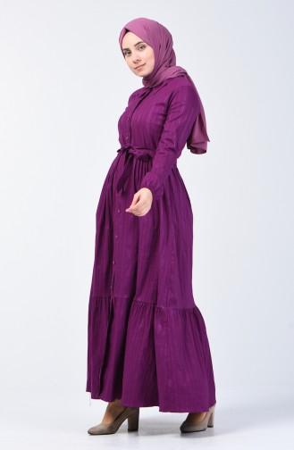 Geknöpftes Kleid mit Band 0014G-01 Lila 0014G-01