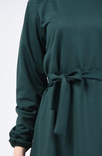 Kolu Lastikli Kuşaklı Elbise 2009-04 Zümrüt Yeşili 2009-04
