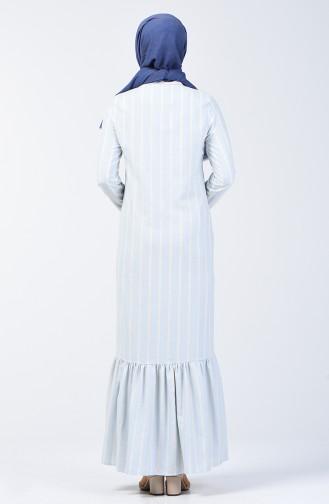 Çizgili Eteği Büzgülü Elbise 3147-02 Bebe Mavisi