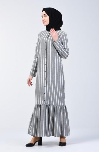 Çizgili Eteği Büzgülü Elbise 3147-06 Siyah