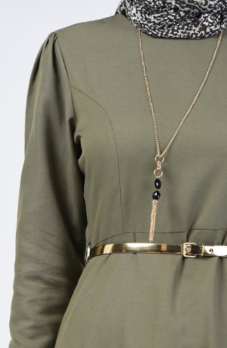 Dress with Belt and Necklace 6450-02 Khaki Green 6450-02