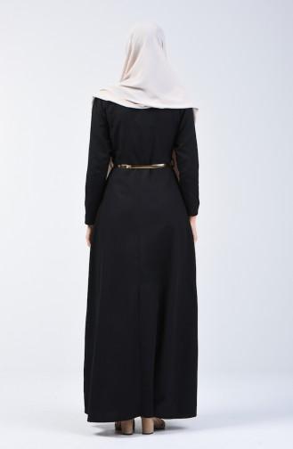 Kemerli Kolyeli Elbise 6450-03 Siyah