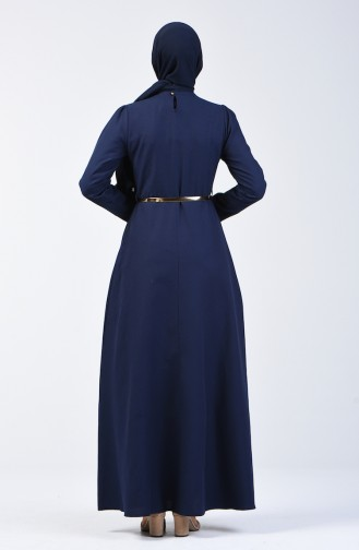 Dress with Belt and Necklace 6450-04 Navy Blue 6450-04