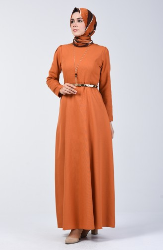 Dress with Belt and Necklace 6450-06 Brick Red 6450-06