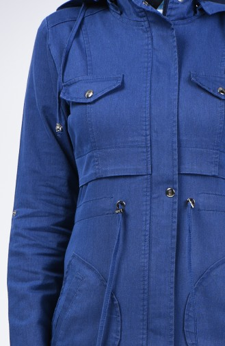 ترانشكوت جينز بقبعة كحلي 6087-03