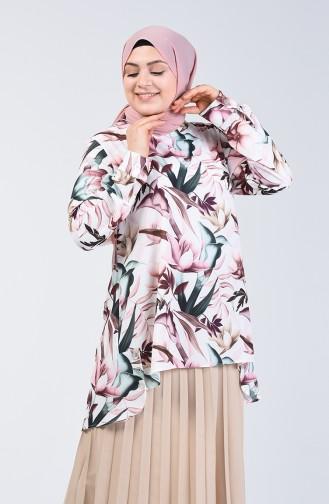 Büyük Beden Çiçek Desenli Tunik 8314-01 Pembe