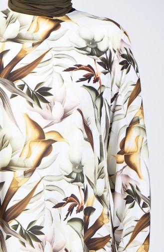 Büyük Beden Çiçek Desenli Tunik 8314-02 Haki