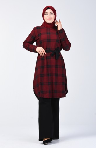 Plus Size Patterned Tunic 2001-03 Claret Red 2001-03