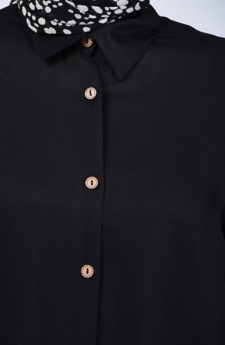 Düğmeli Asimetrik Tunik 6640-01 Siyah