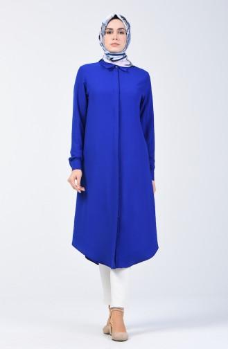 Hidden Buttoned Long Tunic 3010-01 Saxe 3010-01