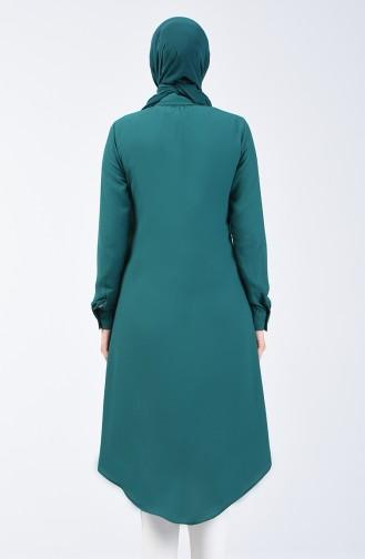 Gizli Düğmeli Uzun Tunik 3010-03 Zümrüt Yeşili 3010-03