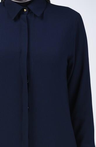 Gizli Düğmeli Uzun Tunik 3010-04 Lacivert 3010-04