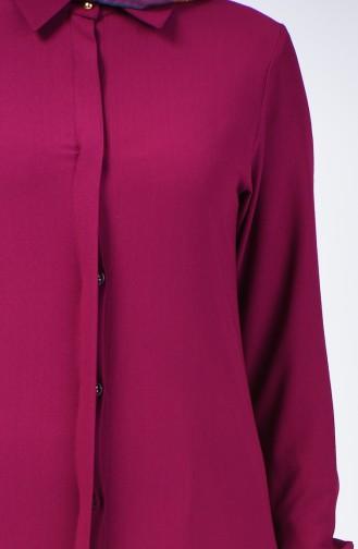 Hidden Buttoned Long Tunic 3010-05 Damson 3010-05