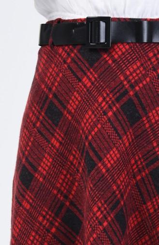 تنورة بحزام منقوشة كارو أحمر 5310D-03