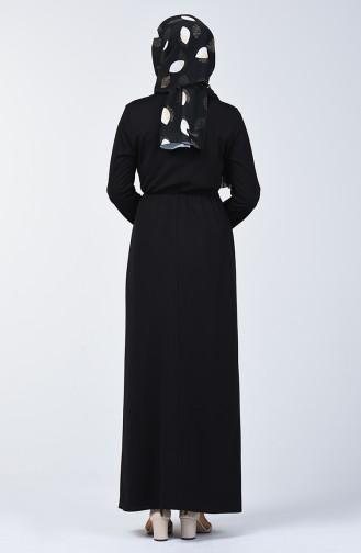 Elastische Taille Kleid 2025-01 Schwarz 2025-01