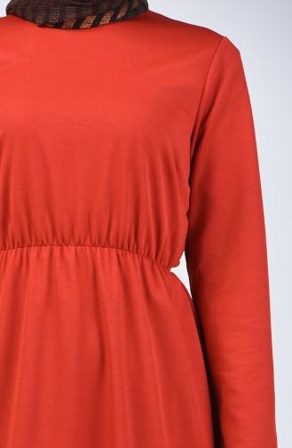 فستان بخصر مطاطي قرميدي 2025-04