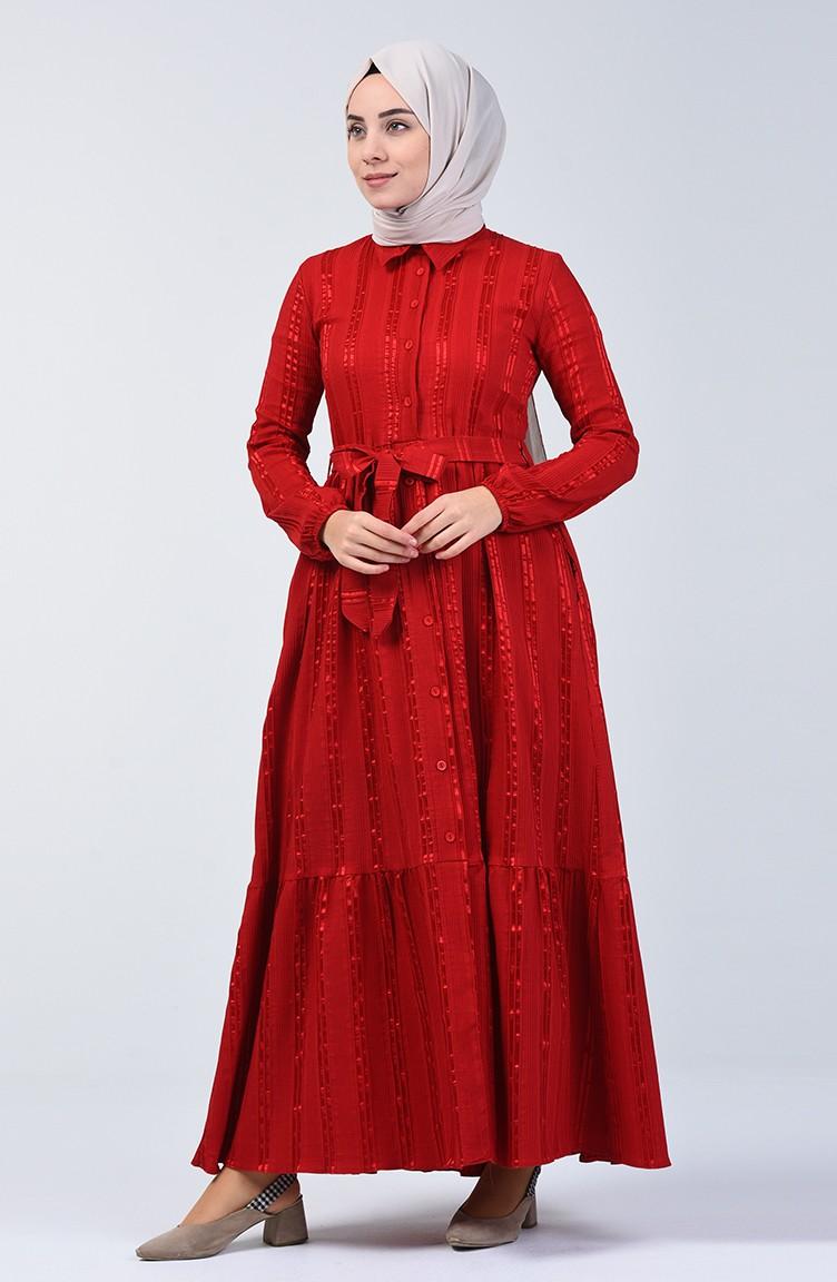 Geknöpftes Kleid mit Band 0014C-01 Rot 0014C-01 | Sefamerve