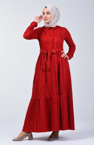 Geknöpftes Kleid mit Band 0014C-01 Rot 0014C-01